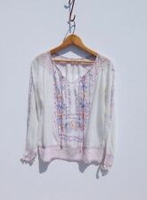 VINTAGE HUNGARIAN FOLK TOP~Sheer Embroidered Mexican Peasant Blouse FREE SHIP~L