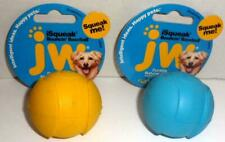 NEW 2 SMALL JW RUBBER ISQUEAK BOUNCIN BASEBALLS PUPPY DOG PET TOYS YELLOW BLUE