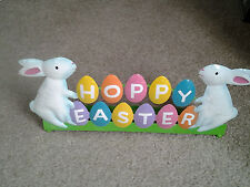 "EASTER BUNNIES ""HOPPY EASTER"" unusual LARGE METAL 5 CANDLE TABLE CENTERPIECE WOW"