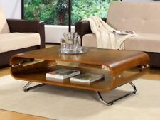 Jual Furnishings JF302 Retro Style Rectangular Coffee Table in Walnut & Chrome