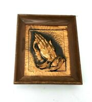 Vintage Religious Inlaid COPPER Praying Hands Wall Plaque Wooden Frame 10""