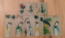 Vintage ten Japanese Handpainted Glass Panels / Plaques decorated with Images