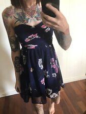 Dotti Dress 6 Ladies Navy Floral Strapless FREE POSTAGE