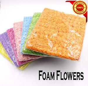 144Pcs Artificial Flowers Mini Foam Roses with stem Wedding  Decor Bouquet  UK