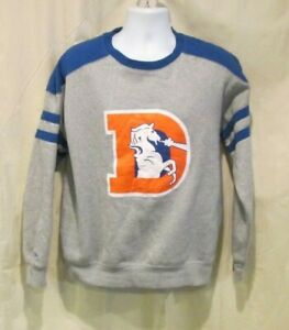 Denver Bronco Mitchell & Ness Throwback Crew Sweatshirt Large