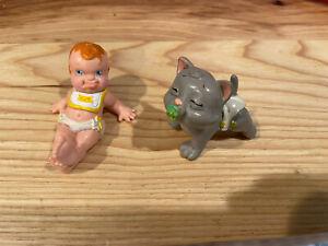 1991 Galoob Magic Diaper Babies Reclining Baby And Pet Cat