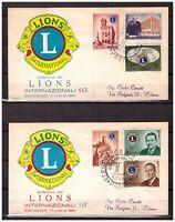 S11738) San Marino 1960 FDCx2 Rodia Lions Club 6v