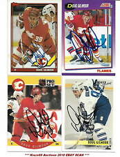 DOUG GILMOUR Lot of (4) Auto SIGNED Hockey CARDS FLAMES~MAPLE LEAFS HOF GREAT~@@
