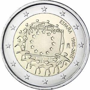 SPAIN 2 EURO 2015 - 30th Anniversary European Union Flag - UNC NEW COIN G283