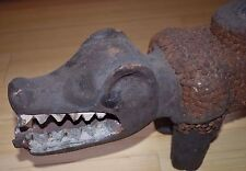 Antique Bakongo Protective Wooden 2 Headed Dog Statue African Nail Fetish Congo
