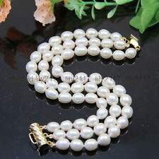 "AAA new  3 rows10-12MM white akoya pearl bracelets 7.5-8 ""14K"