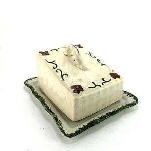 Antique Vintage Ceramic Cheese Dish Plate Wedge Shaped Rustic Primitive Design