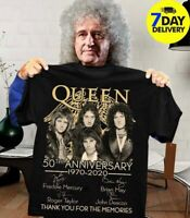 Queen Band 50th Anniversary Thank You For The Memories T-Shirt Black Cotton Tee