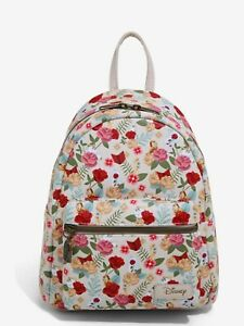 Loungefly Disney's Beauty & The Beast Backpack Floral Character Print NWT