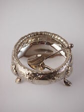 Victorian Silver Plate Salt Cauldron and Solid Silver Spoon