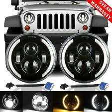 "2x 7"" inch 200W LED Headlight Halo Angel Eye DRL Lamp for Jeep Wrangler JK TJ CJ"