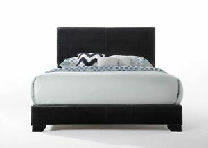 Acme Ireland Queen Faux Leather Bed, Black