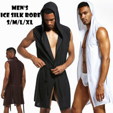 Cool Mens Sexy Hooded Robe Sleeveless Sleepwear Silk Pajamas Bathrobe S M L XL