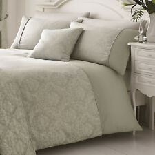 Woven Damask Piped Silver Blue Grey Single Duvet Cover