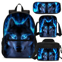 Cool Blue Wolf School Backpack Insulated Lunch Bag Shoulder Bag Pencil Case Lot