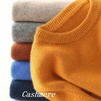 Mens Winter Warm Cashmere Crew Neck Pullover Jumper Sweater Tops Elasticity cozy
