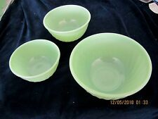 Vintage FIRE KING 3 Piece MIXING BOWL Set - Jadeite Swirl Pattern