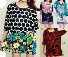 3/4 Sleeve Hand-wash Only Floral Plus Size Tops for Women