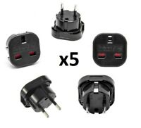 UK To EU European Europe Black 2 Pin Holiday Travelling Popular Adapter Plug UK