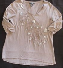 STYLE & CO. Women's Petite 3/4 Sleeve Brown Tunic Shirt Size PXL