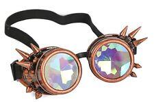 Kaleidoscope Spike Steampunk Antique Copper Goggles Punk Goth Aviator Rave