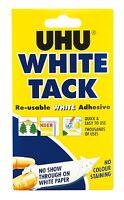2 X UHU Blanc Punaise Pratique 50g - Réutilisable Blanc Adhésif non-Stain