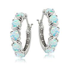 Sterling Silver Lab Created Opal S Design Hoop Earrings