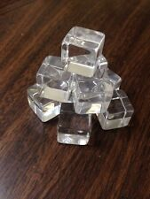 """10 PACK Clear Acrylic Tumbled Cube Solid 5/8"""""""