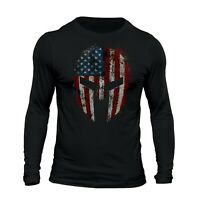 American Spartan Patriotic USA Flag Tactical Men's Long Sleeve T-Shirt