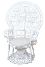 Rattansessel inkl. Sitzkissen Pfauenthron Thron Relaxsessel Farbe: weiß