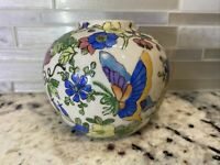 Antique Chinese Purple Cloisonne Ginger Jar w/ Flowers Decoration