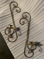 2 Home Interior Wall Sconce single Candle Holders Brass scrolls Goldtone Vintage