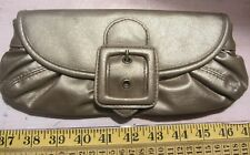 Ladies Gold Coloured Faux Leather Clutch Purse With Big Buckle Detail
