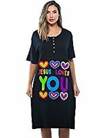 "Dreamcrest ""Jesus Loves You "" Short Sleeve Nightgown/Sleep Dress For Women"