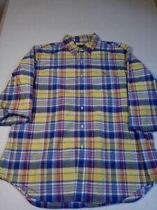 Ralph Lauren Mens Shirt Size XL Yellow Plaid 3/4 Sleeve Button Down 100% Cotton