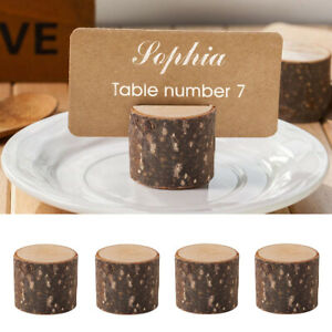10pcs Wooden Table Name Place Card Holder Number Menu Wedding Party Rustic Decor