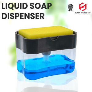 Kitchen Liquid Soap Pump Dispenser 2 in1 ABS Sponge Holder Press Countertop New