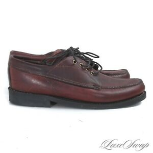 #1 MENSWEAR Orvis Raw Unlined Chili Leather Waxy Camp Moccasin Lodge Shoes 10.5