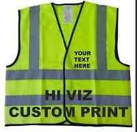 Custom & Reflective Yellow Short Hi Vis Visibility Viz Safety Vest (60 c.m.)