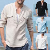 Fashion Men's Linen Long Sleeve Shirt Summer Loose Casual V-Neck Shirts Tops