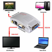 Computer VGA to TV RCA Composite Converter Adapter S-Video Box PC Laptop Mac
