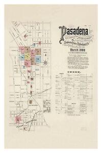 Pasadena 1888 Sanborn Map, Exquisitely Detailed Map - Poster
