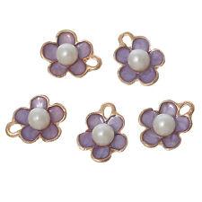 10PCs Acrylic Pearl Charm Pendants Flower Gold Plated Mauve Enamel