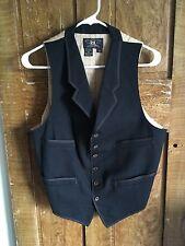 RRL Western Black Waistcoat Small Vest Menswear Ralph Lauren Mr Freedom Workwear