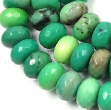 8x5mm Natural Green Chrysoprase Faceted Rondelle Beads (33-38)